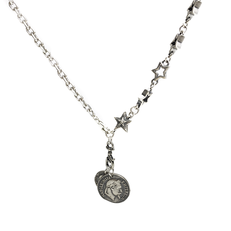 Sterling 925 thai silver double avatar silver coin pendant necklace jewelry YRT