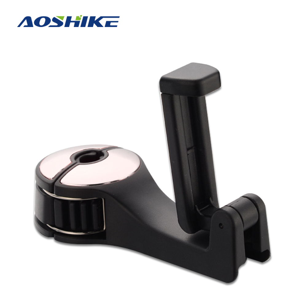 AOSHIKE Car Headrest Hook & Phone Holder Seat Back Hanger For Bag Purse Portable 2 In 1 Multifunction Rear Seat Clips Hook