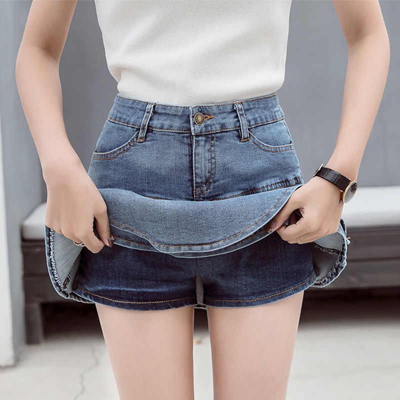 Frauen Denim Shorts Rock Weibliche A-linie Hohe Taille Jeans Mini Rock Casual Alle Spiel Elastischen Ball Retro Sommer 2020 Streetwear