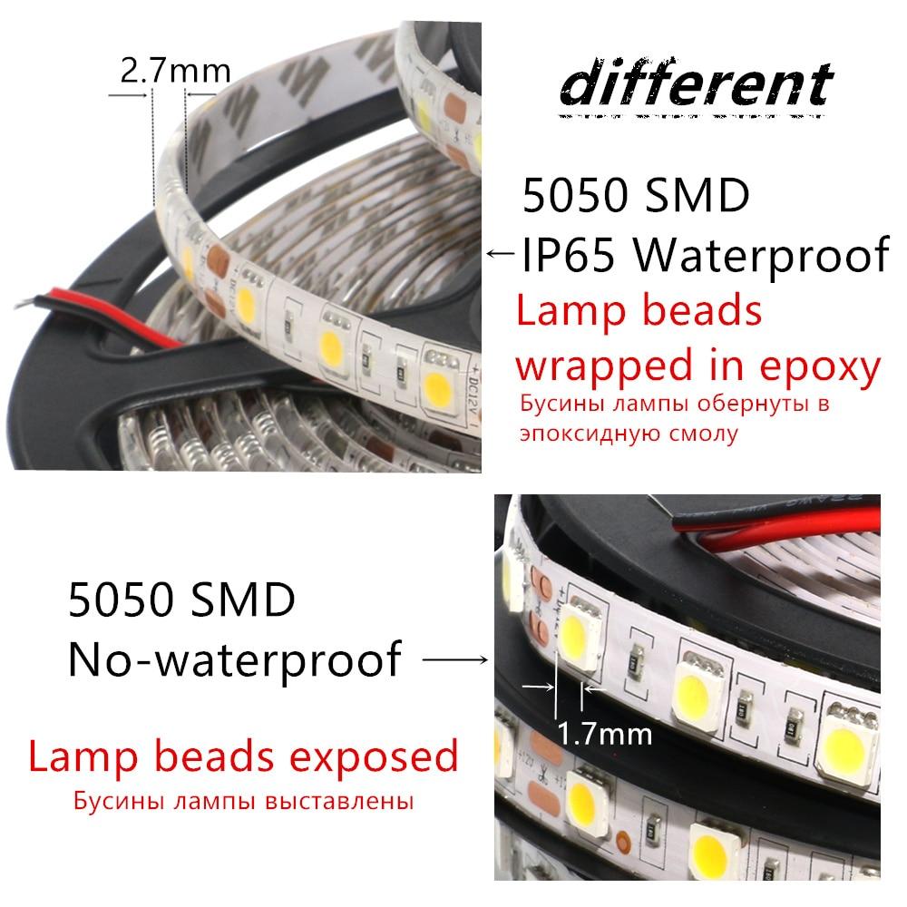 DC12V 1 2 3 4 5M 5050 SMD RGB LED Strip Light Waterproof Led Tape DC12V 1/2/3/4/5M 5050 SMD RGB LED Strip Light Waterproof Led Tape flexible Strip Light 60Leds/m Tira Home Decor Lamp Car Lamp