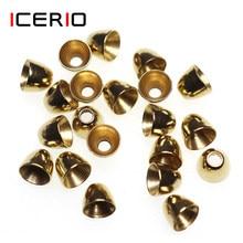Icerio 20 pces cabeças de cone de bronze para o tubo voar serpentinas minnows moscas de água salgada que amarram o material da isca