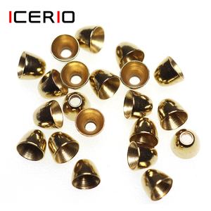 ICERIO 20PCS Brass Cone Heads for Tube Fly Streamers Minnows Saltwater Flies Tying Lure Material