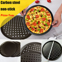 top selling Hot Pizza Pan Non-Stick Coating Carbon Steel Tray Portable Tool Home DIY Crisper Support Wholesale and Dropshipping(China)