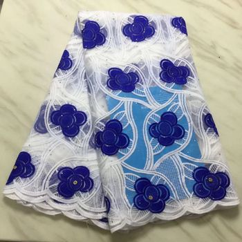 5Yards/pc Wonderful royal blue flower african milk silk lace and white french net lace fabric for dress BN138-9