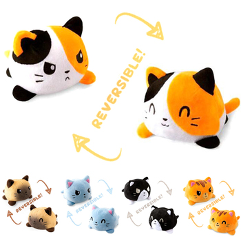 Cute Soft Simulation Reversible Cat Gato Doll Kids Christmas Gift Double-sided Flip Plush Toy Chirdren Birthday