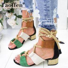 TAOFFEN 2020 Women Sandals Heel Peep Toe Gladiator