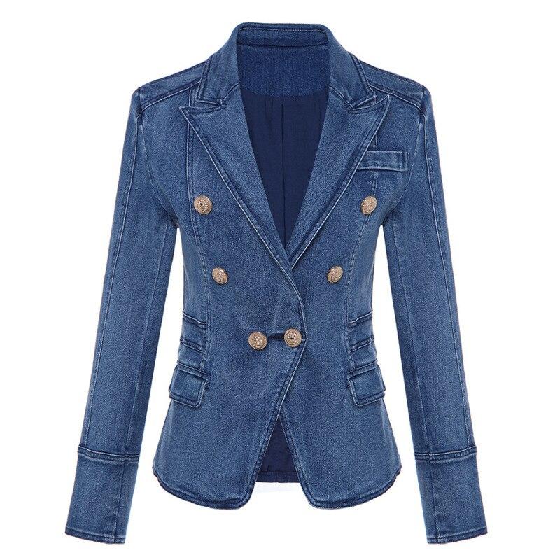 DEAT осенне зимняя двубортная джинсовая синяя куртка с высокой талией, женское короткое пальто, модные металлические пуговицы, WJ02305L