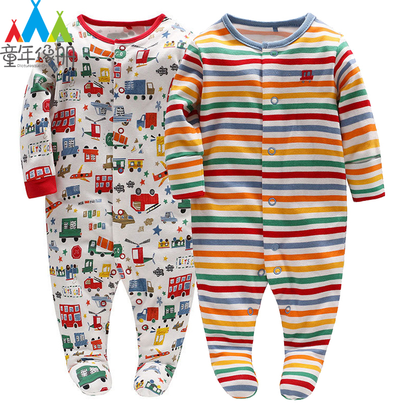 Picturesque Childhood 2-1 Spring Baby Cotton Long Sleeve Footies Cartoon Car Transportation Tool Single Breasted Suit Kids Toys