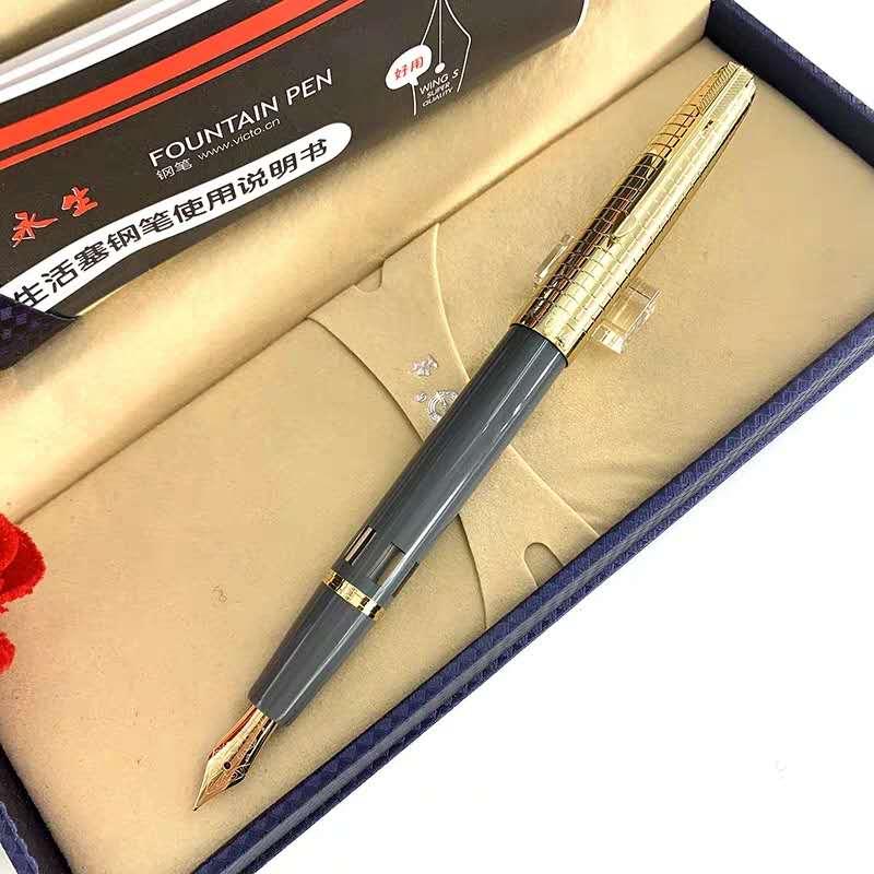 Wing Sung 601A Vacumatic Fountain Pen Gray Ink Pen 14K Gold Exposed Nib Stationery Office School Supplies Penna Stilografica