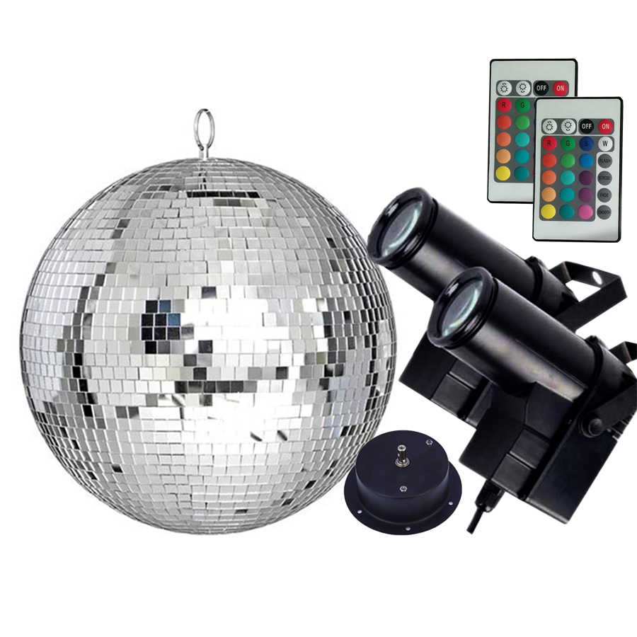 Thrisdar Dia20CM 25CM 30CM Reflection Glass Mirror Disco Ball With Remote Control RGB Pinspot Light Party KTV Mirror Ball Light