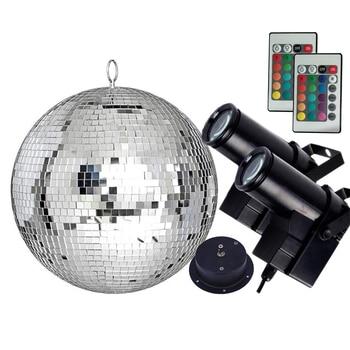 Thrisdar Dia20CM 25CM 30CM Reflection Glass Mirror Disco Ball With Remote Control RGB Pinspot Light Party KTV Mirror Ball Light