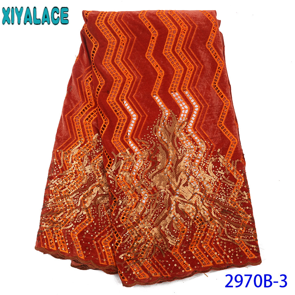 Hot Sale African Velvet Lace Fabric,2019 Sequin Lace Fabric,High Quality Burnt Orange Lace For Party Dresses KS2970B-3
