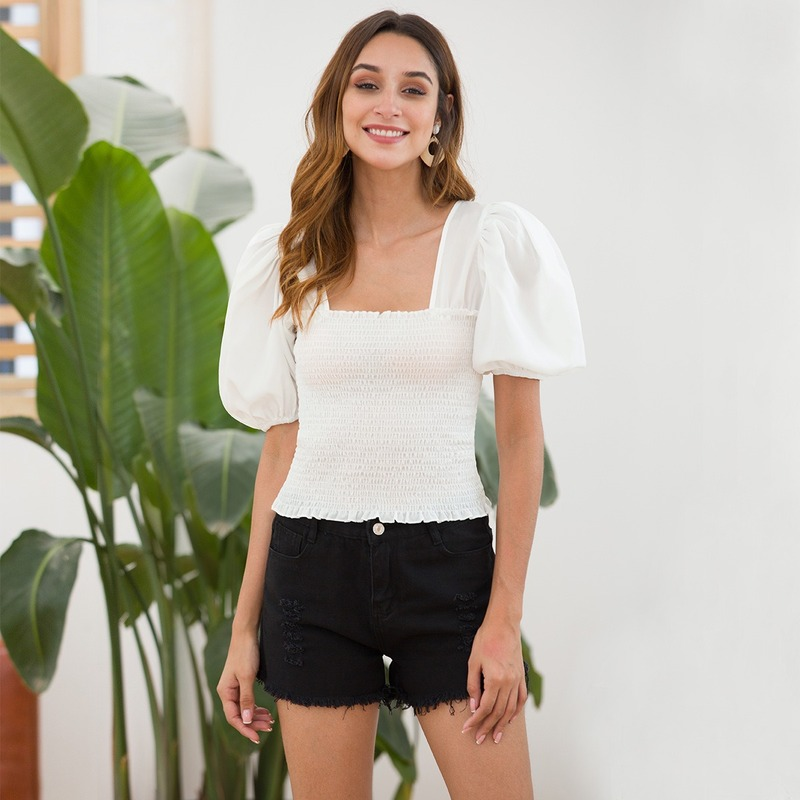 Puff Sleeve Short Top 2019 Fashion White Solid Slim Fit Summer Womens Tops