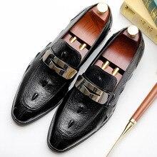 2019 Italian Brand Handmade Mens Loafer Shoes Slip-on Genuine Cow Leather Fashion Causal Crocodile Formal Oxford