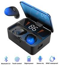 무선 헤드폰 블루투스 5.0 이어폰 진정한 스테레오 이어 버드 xiaomi 삼성 아이폰에 대한 HD 마이크와 IPX67 스포츠 헤드셋