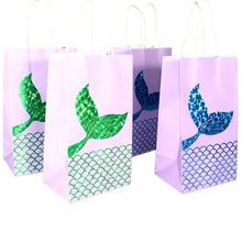 Petits sacs à bonbons en forme de sirène, 5 pièces, décoration de fête d'anniversaire pour enfants, sacs cadeaux violets, emballage de boîtes cadeaux en papier pour fête prénatale