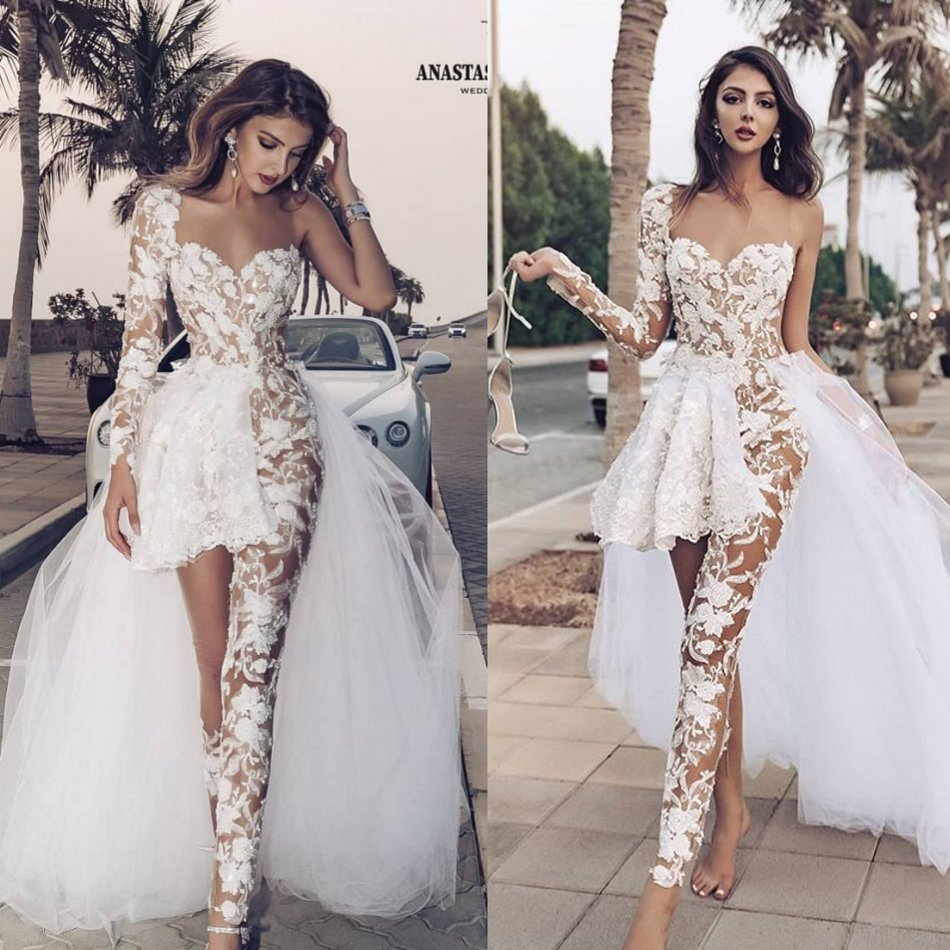 White Wedding Jumpsuit With Long Train Beach Wedding Dresses Sweetheart Boho Wedding Gown Custom Made Long Sleeve Robe De Soiree