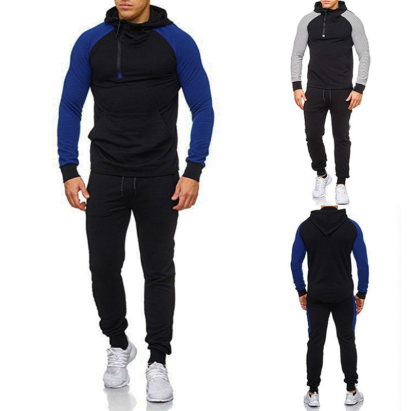 2019 Ouma New Style Stripes Joint Zipper Neckline MEN'S Hooded Sweater Athletic Pants A28