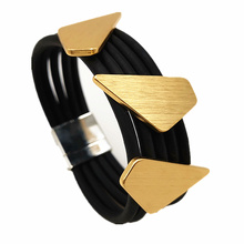 YD&YDBZ New Fashion Women Jewelry Geometric Alloy Rubber Bracelet Elegant Design Magnetic Buckle Ladies Gift Wholesale