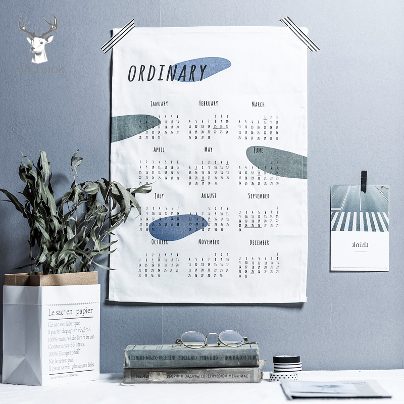 2020 Nordic Style 365days Cotton Calendar Creative Wall Decoration Wall Calendar Office School Daily Planner Notes Schedule