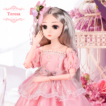 цена на 1/4 SD Dolls 18inch 18 Ball Jointed Dolls BJD Doll with Clothes Outfit Shoes Wig Hair Makeup Best Gift for Girls