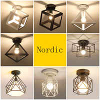 Nordic Minimalism Retro Iron Square Ceiling Light Lamp Cozy Decor for Bed Room Corridor Dining rooWhite Black Loft 110V 220V E27