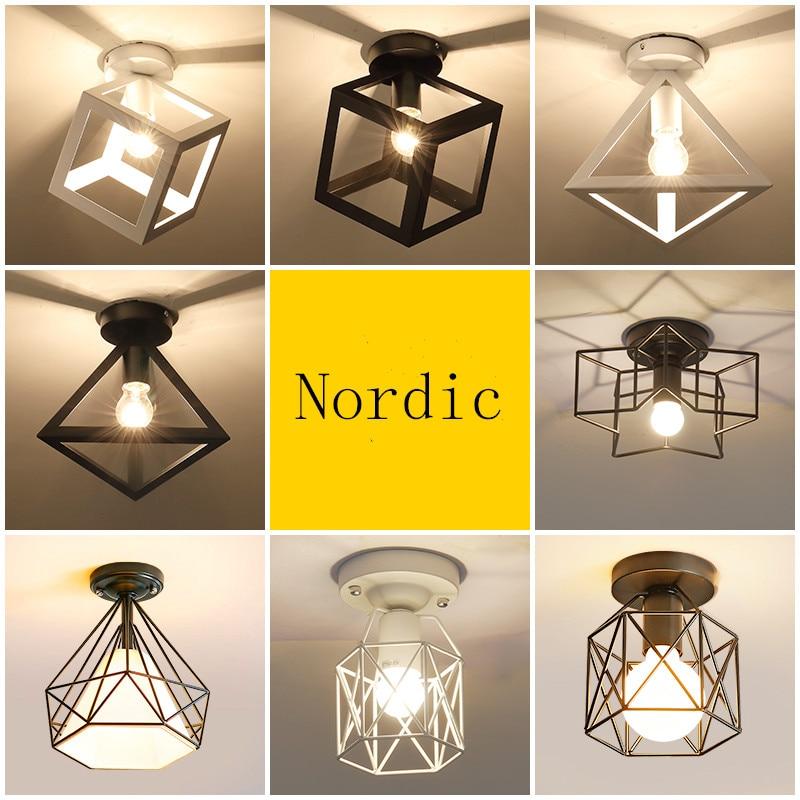 Nordic Minimalism Retro Iron Square Ceiling Light Lamp Cozy Decor For Bed Room Corridor Dining RooWhite Black Loft 110V 220V E27