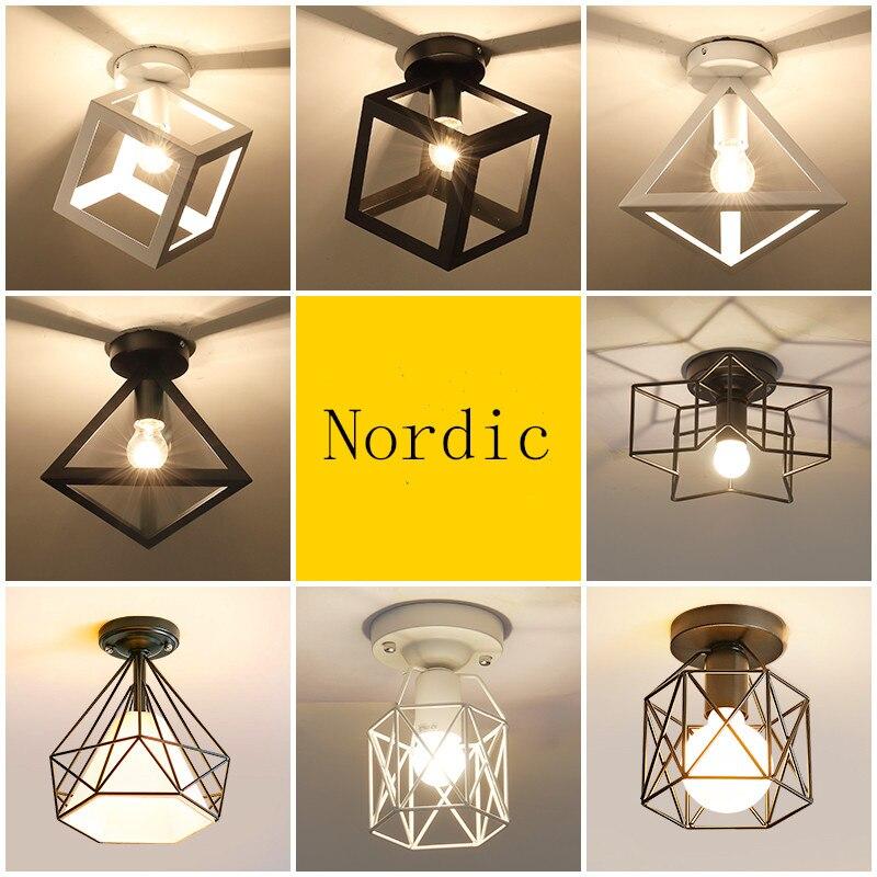 Nordycki minimalizm żelazo retro kwadratowa lampa sufitowa lampa przytulny wystrój dla sypialnia korytarz jadalnia rooWhite czarny Loft 110V 220V E27