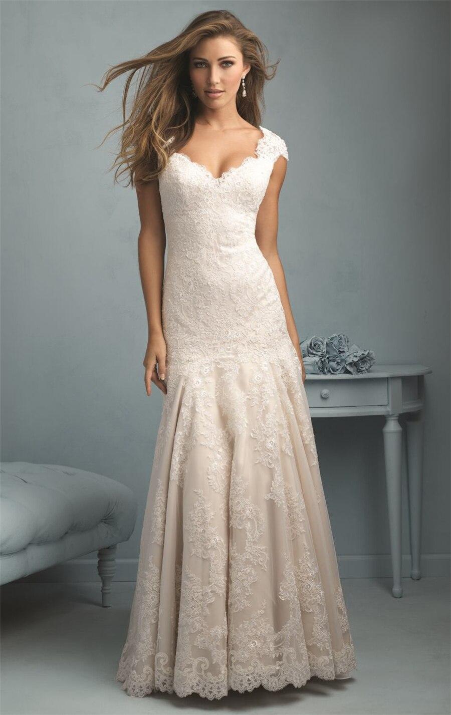 Vintage Mermaid Long Lace Wedding Dresses Ivory/white 2015 Cheap Backless Court Train Plus Size Formal Bridal Dress UD_110