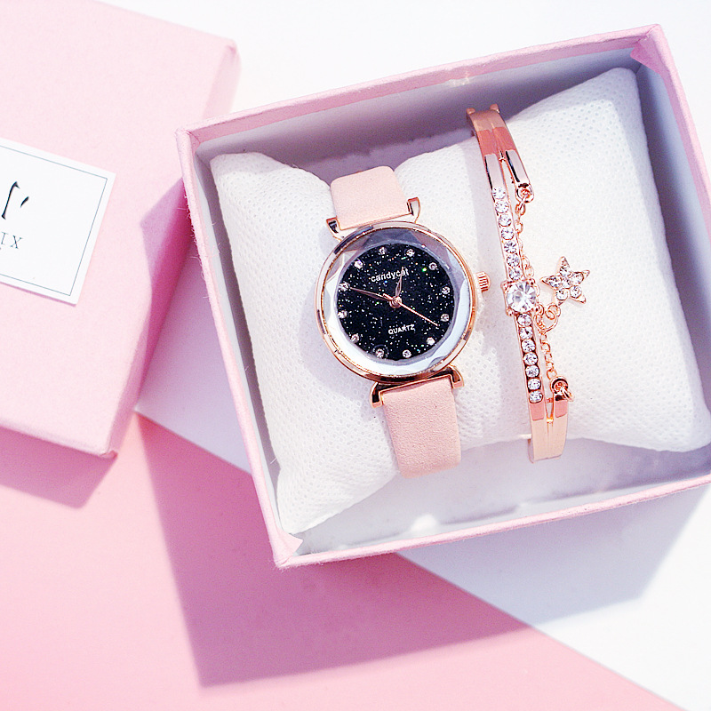 Casual Women Watches Starry Sky Ladies Bracelet Watch Leather Rhinestone Designer Quartz WristWatch Dress Clock Relogio Feminino