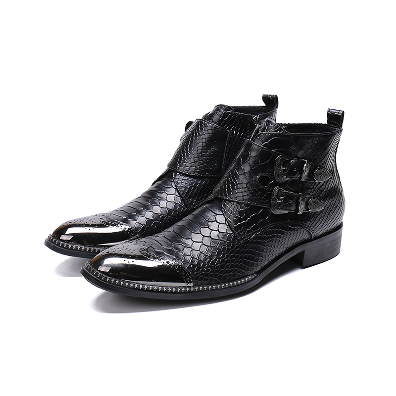 Genuine Leather Low Heel Zip Double Buckle Ankle Boots Fashion Crocodile Patten Oxford Pointed Toe Martin Boots Big Size 46
