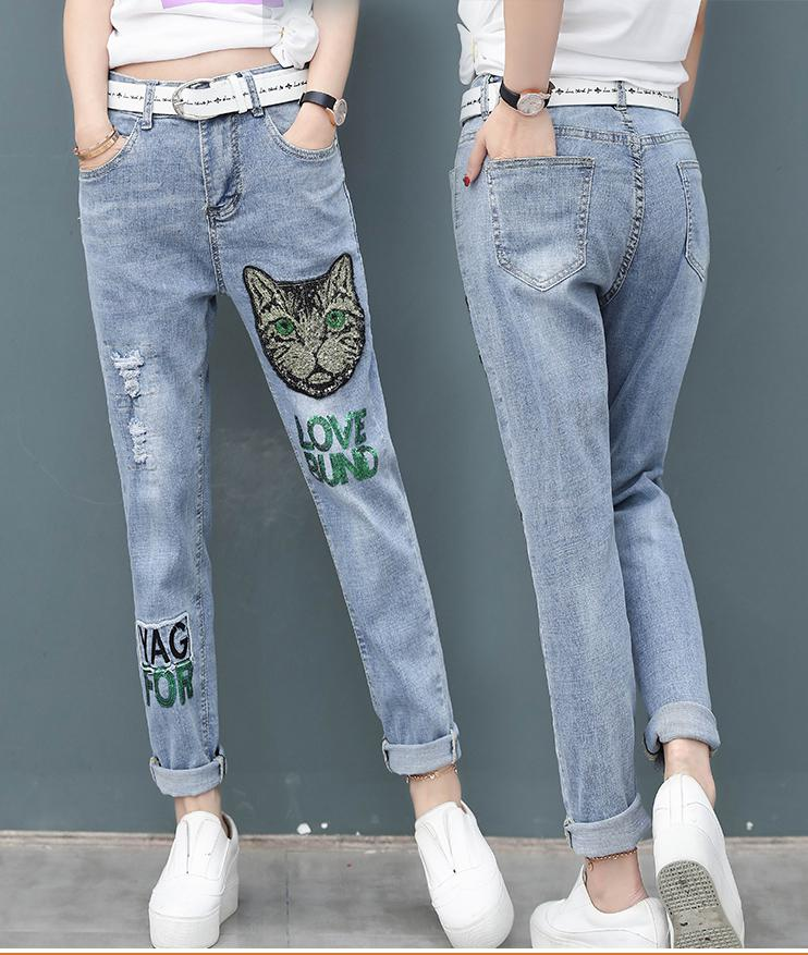 2019 Korean Style Casual Letter Sequins Cat Head Embroidered Jeans Female Fashion Wild Loose Thin  Women Blue Jeans
