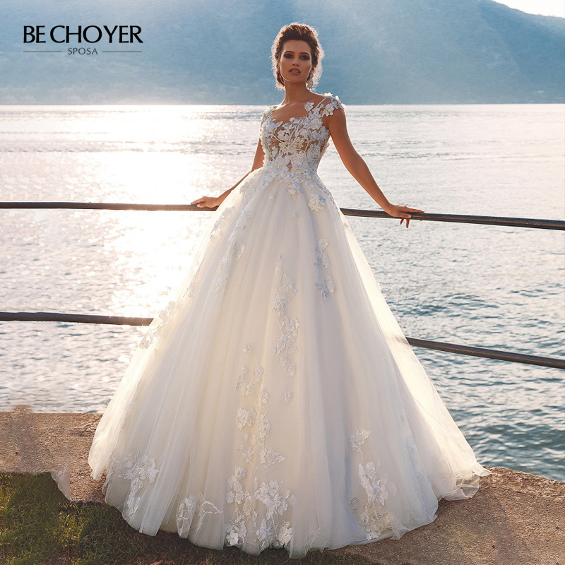 Fairy 3D Flowers A-Line Wedding Dress Scoop Appliques Illusion Sleeveless Bridal Gown BECHOYER PZ34 Princess Vestido De Novia