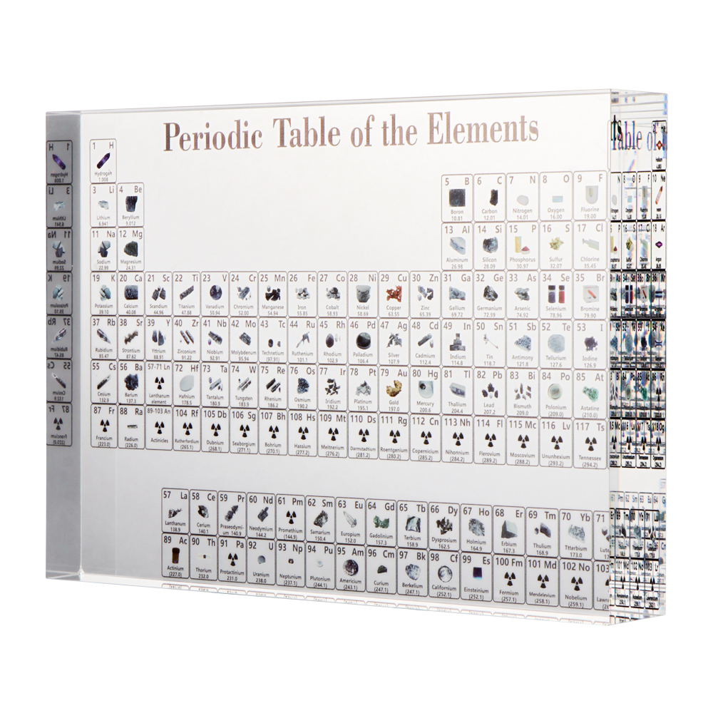 Acrylic Periodic Table Display With Real Elements School Kids Teaching Chemical