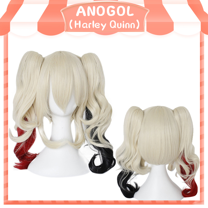 ANOGOL Harley Quinn Suicide Squad Ponytail Wig High Temperature Fiber Synthetic Cosplay Wigs For Girls Halloween Party Role Play