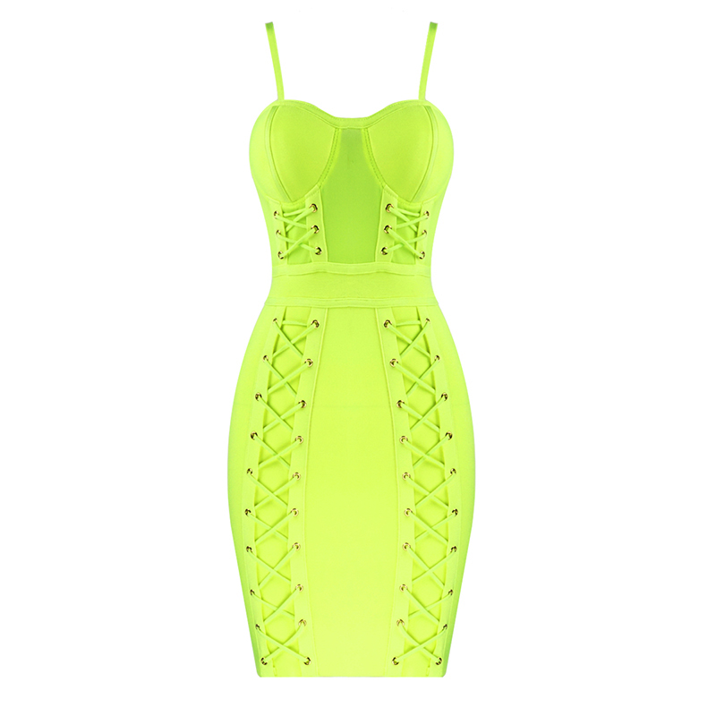New Summer Fashion Sexy Sleeveless Green Hot Pink Bodycon Bandage Dress 2020 Designer Fashion Party Dress Vestido 4