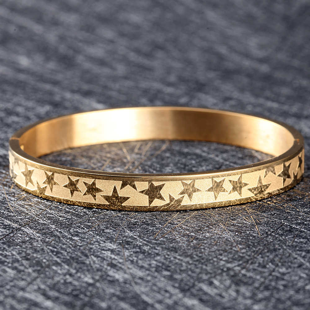 stars gold bangle men/cuff/bracelets & bangles open stainless steel titanium  faith bangle bracelet men jewelry 2020 new bangle