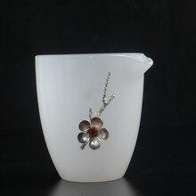 Белый нефрит фарфоровая ярмарка кружка большая рука захват чистый белый прозрачный чай посуда личность инкрустированный оловянный чайный набор кунг-фу