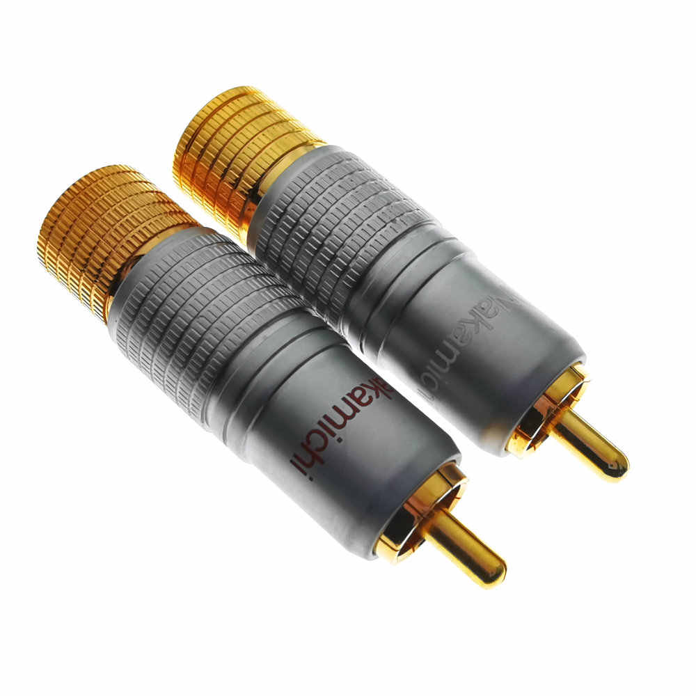2 Stuks Rca Nakamichi 24K Glod Vergulde Rca Plug Audio Video Kabel Connector