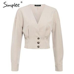 Image 5 - Simplee אלגנטי v צוואר נשים חולצה חולצה ארוך שרוול כפתור נקבה למעלה חולצה סתיו מזדמן streetwear גבירותיי חולצה חולצה 2019