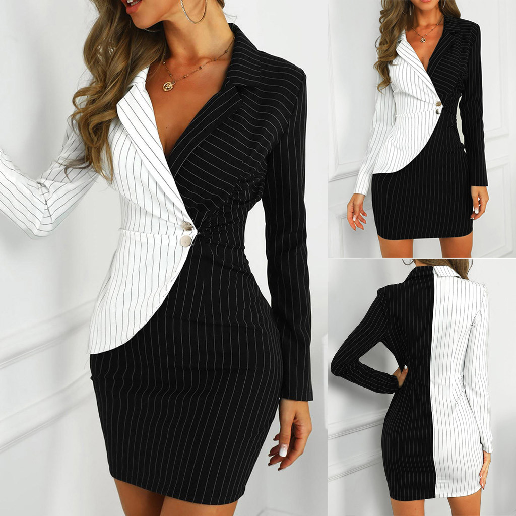 Fashion Suit Women Blazer Dress Turn Down Neck Long Sleeve Buttons Striped Patchwork Bodycon Blazer Dress Wholesale Free Ship Z4