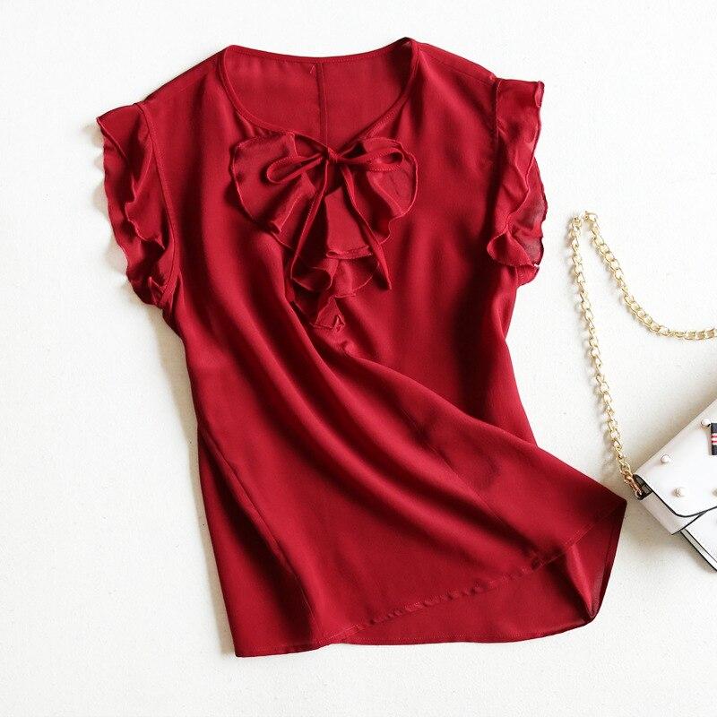 Assurance qualité mûrier soie crêpe-de-chine chemises en soie chemise à volants pour femmes été nouveau Style vraie soie robe pour femme