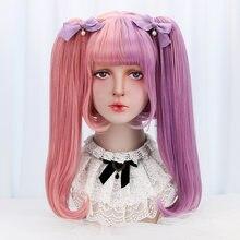 Женские длинные волнистые синтетические парики free beauty розовые