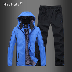 Fleece Tracksuit Mens Casual Set New Fashion Patchwork jacket Zipper Sweatshirt Jackets and Pants Sportswear Coat and Trousers