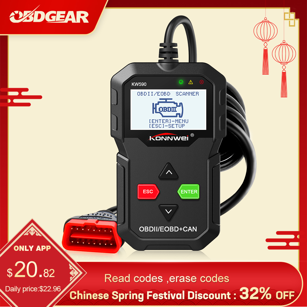 2020 Konnwei KW590  OBD2 Scanner Car Diagnostic Scanner  OBD 2  Auto Diagnostic Tool Better ELM327 ODB2 Auto Diagnositic Scanner