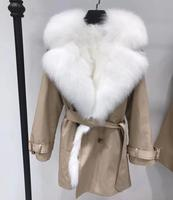Women Real Fur Parka With Big Fox Fur Collar Liner Detachable Natural Fur Coat Medium Long Female Fox Parkas