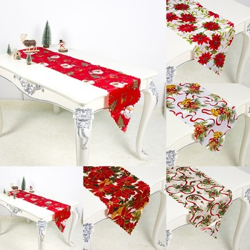 Christmas table runner creative Christmas cotton linen tablecloth and table runner tabletop decoration camino de mesa runner 02* image