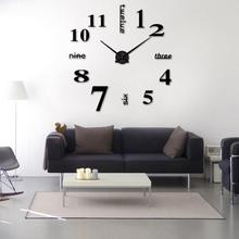 3D Big Wall Clock Sticker DIY Acrylic Frameless Affordable Needle Classic Watch Brief Style Home Decoration Living Room Kitchen