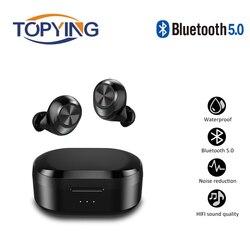Tws x20 fones de ouvido bluetooth com microfone sem fio fones estéreo música à prova dwaterproof água com caixa carregamento para todo o telefone inteligente