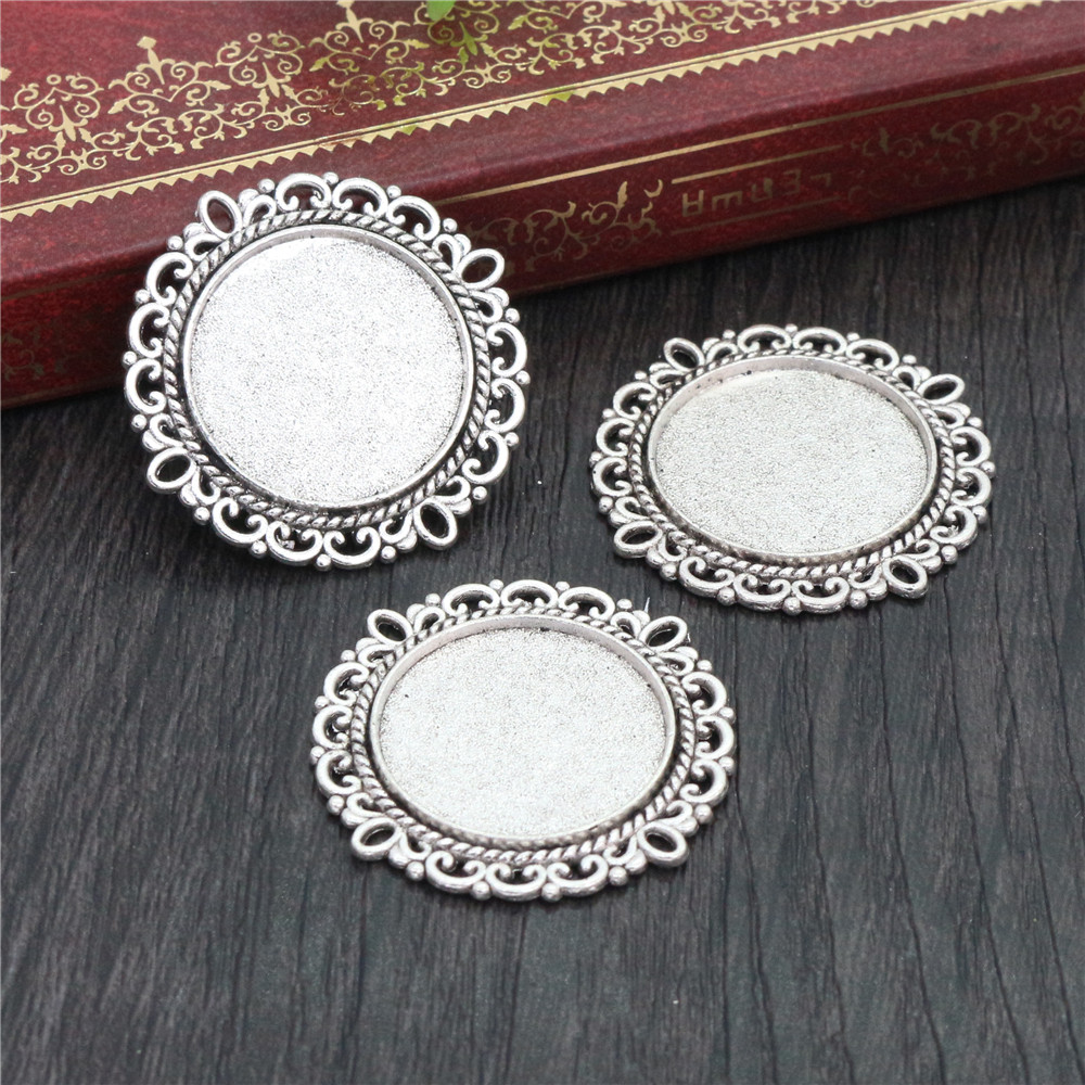 10pcs 20mm Inner Size Antique Silver Plated Classic Style Cabochon Base Setting Charms Pendant (D2-01)